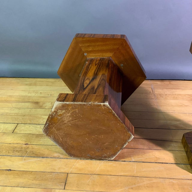 Pair Hexagonal Rosewood and Brass Stool, France 1960s For Sale - Image 10 of 11