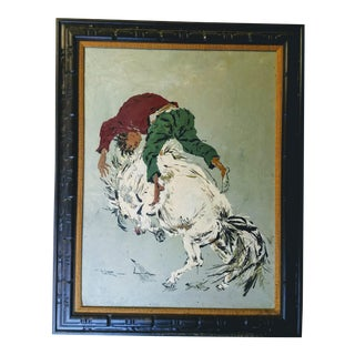 "1970s Vintage Wilton ""Wild Horse Ride"" Oil Painting For Sale"