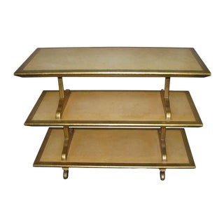 Wooden Three Tier Rolling Shelf For Sale