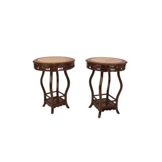 Chinese 1890s Hong Mu and Marble Round Tables - a Pair