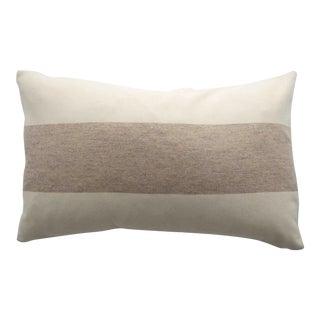 FirmaMenta Italian Eco-Friendly White and Cream Stripes Wool Lumbar Pillow For Sale