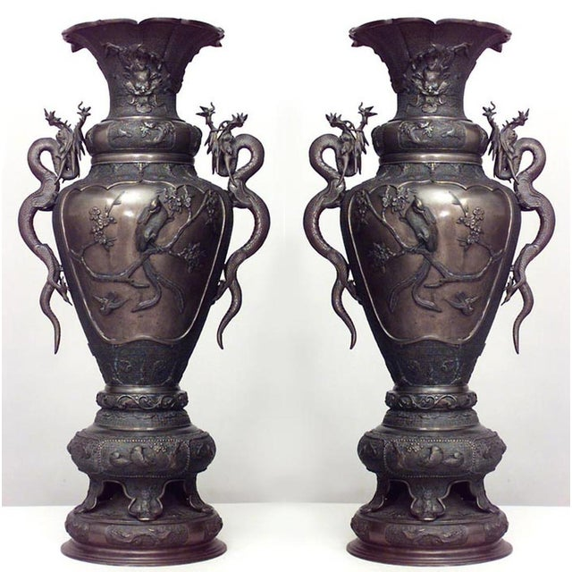 Gold Pair of Asian Japanese Style Bronze Palace Urns For Sale - Image 8 of 8