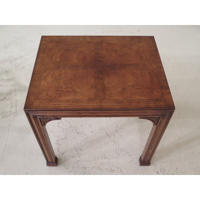 Henredon oak & walnut modern Chippendale end table. Features quality construction.