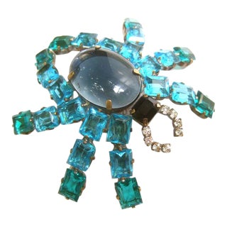 Massive Crystal Glass Cabochon Spider Brooch For Sale