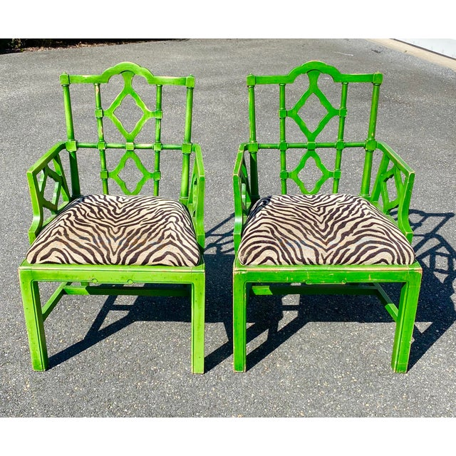 Vintage Hollywood Regency Green Pagoda Chairs with Zebra Fabric - a Pair For Sale - Image 13 of 13