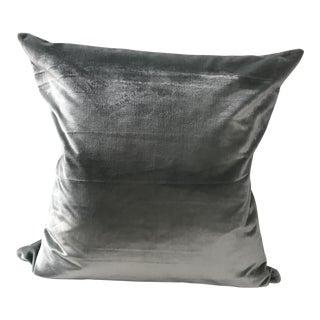 Distressed Silver Aqua Italian Silk Velvet Pillow For Sale