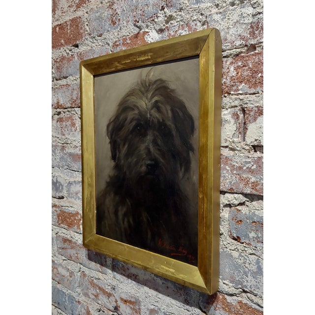 William Hardie Hay -Portrait of a Beautiful Black Terrier Dog -Oil Painting C.1911 For Sale In Los Angeles - Image 6 of 8