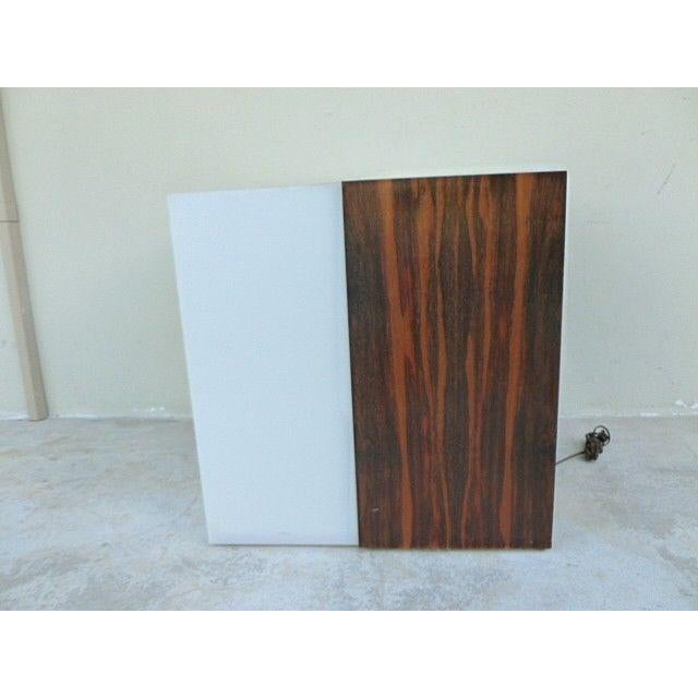 1970s Mid Century Modern Rosewood & Acrylic Floor Lamp Table For Sale - Image 10 of 13