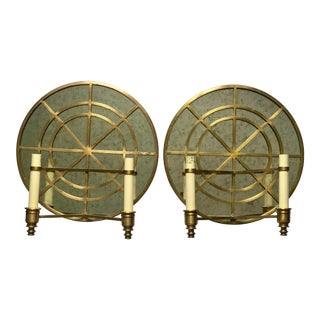 Vintage Brass & Antique Mirror Wall Sconces - a Pair For Sale