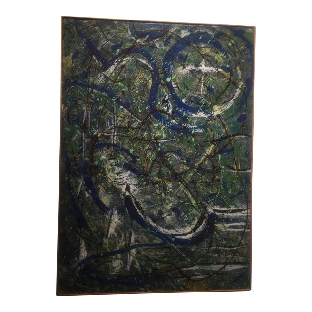 Abstract Expressionist Drip Glaze Style Painting For Sale