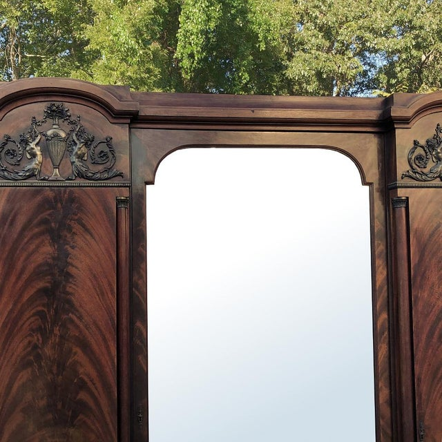 Early 20th Century Antique French Neoclassical Mahogany Armoire For Sale - Image 5 of 13