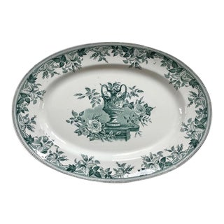 Vintage Late 19th Century Green & White Stoneware Transfer Flora Pattern Large Platter For Sale