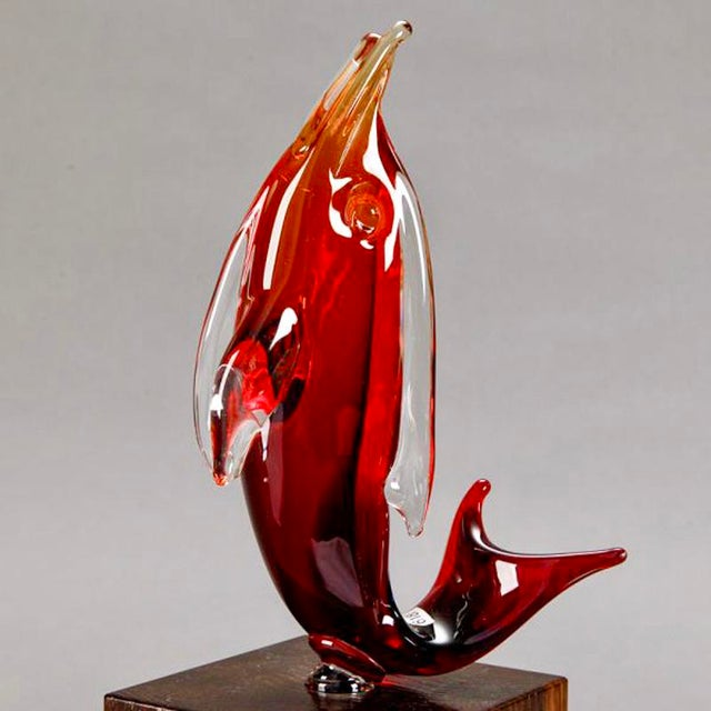 Ermanno Nasen Cenedese Red Murano Glass Dolphin on Stand - Image 7 of 7