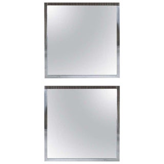 Pair of Large Polished Steel Mirrors For Sale