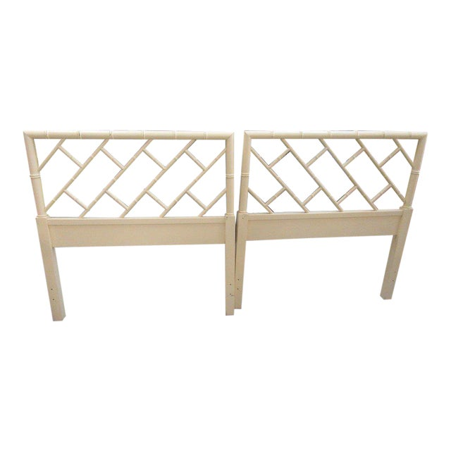 Twin Faux Bamboo Chippendale Headboards - a Pair - Image 1 of 6