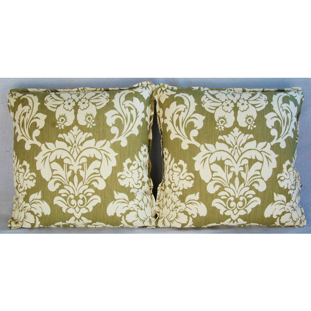 "Belgian 21"" Designer Brule Fabric Randall Damask Feather/Down Pillows - Pair For Sale - Image 3 of 11"