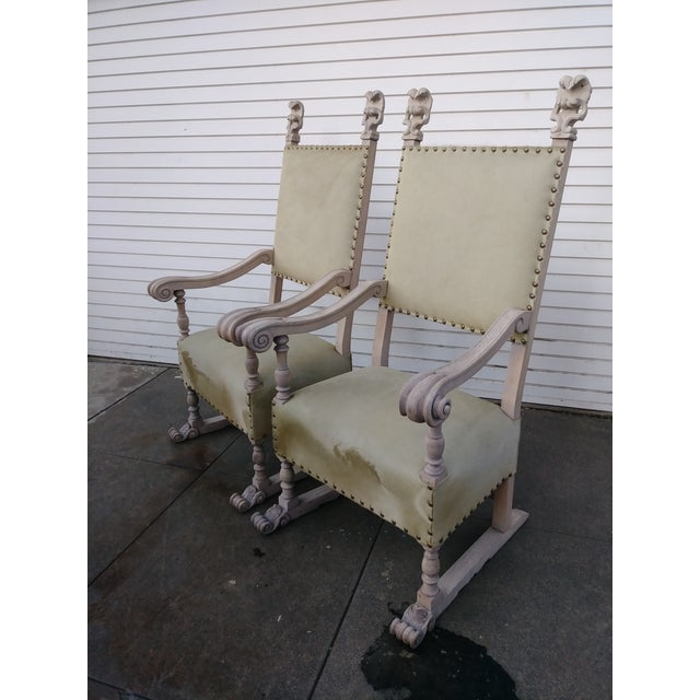 1920s Vintage Bleach Wood and Horse Skin Antique Chairs - a Pair For Sale - Image 9 of 12