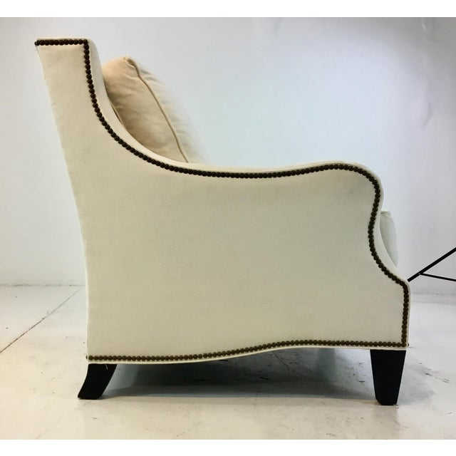 Thomasville Thomasville Transitional White Natural Cotton Club Chair For Sale - Image 4 of 6