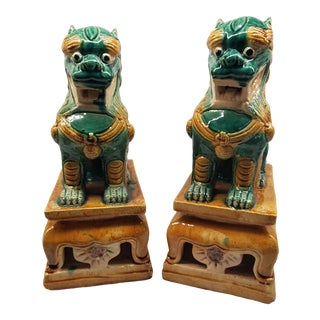 1980s Green & Yellow Glazed Foo Dogs - A Pair For Sale