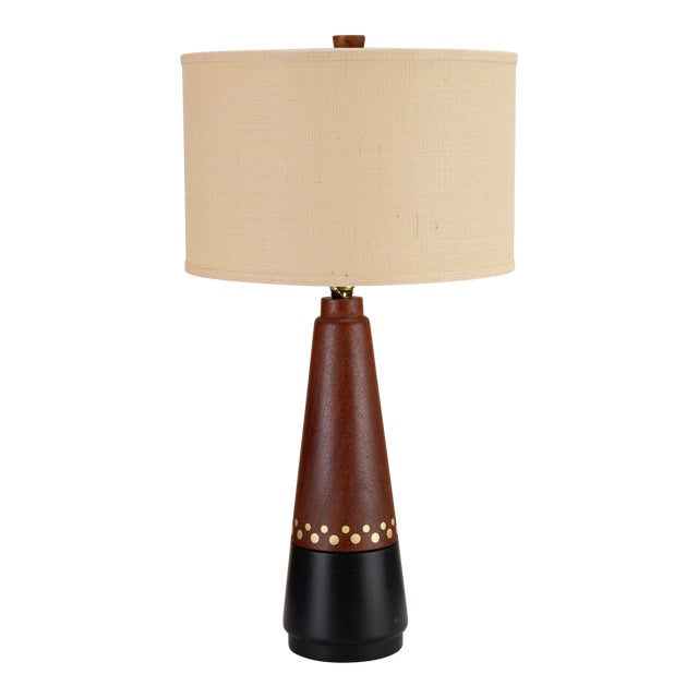 Danish Teak Lamp With Inlaid Brass For Sale