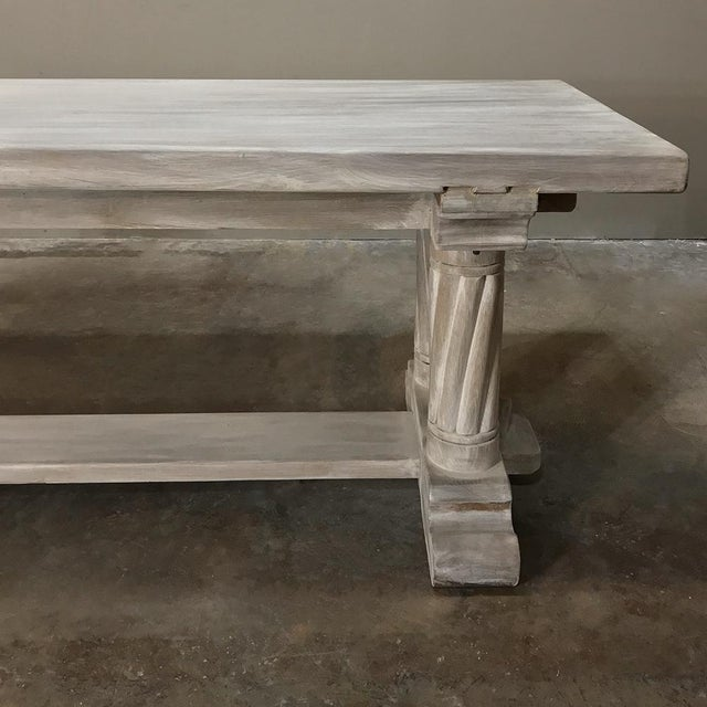 Oak Antique Rustic Gothic Stripped Oak Dining Table For Sale - Image 7 of 8