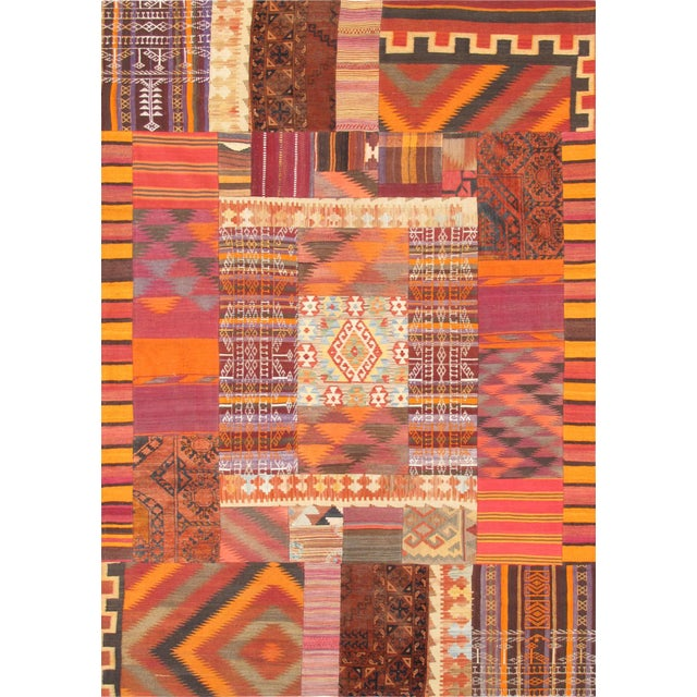 2010s Vintage Patchwork Lamb's Wool Area Rug - 6x9 For Sale - Image 5 of 5