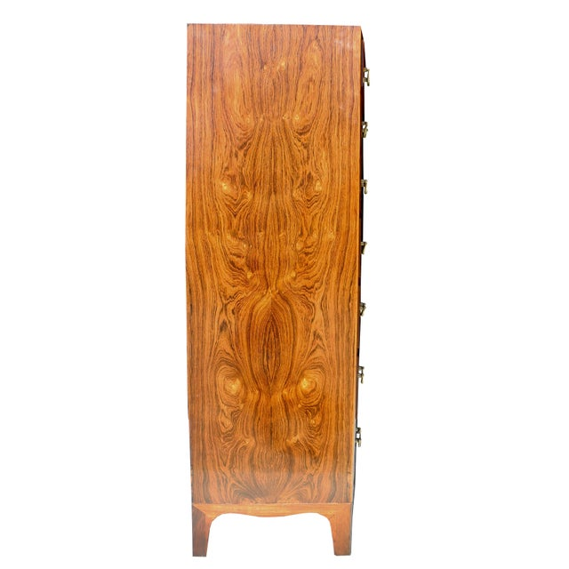 Danish Modern Tall Rosewood Bombe Dresser / Gentleman's Chest by Ole Wanscher For Sale In New York - Image 6 of 12