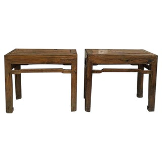 Antique Chinese Cypress Wood Benches - Set of 2