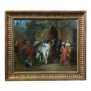 John Lewis Brown 19th Century French Cavalrymen Resting Painting For Sale