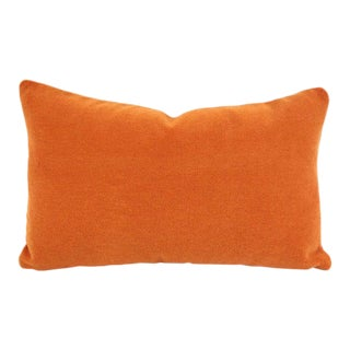 "Place Textiles La Scala in Valencia Lumbar Pillow Cover - 12.5"" X 20"" Solid Orange Rust Alpaca Wool Rectangle Accent Cushion Cover For Sale"