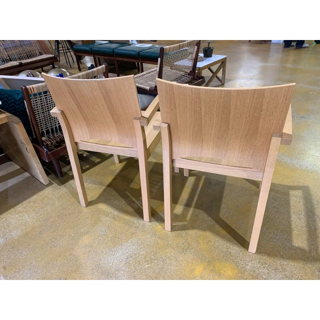 1980s 1980s Italian Cerused, Rift-Sawn White Oak Accent / Dining Arm Chairs, a Pair For Sale - Image 5 of 13
