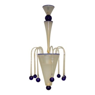 Abstract Mid-Century Modern Murano Glass Chandelier Lamp For Sale