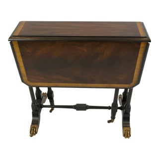Maitland Smith Drop Leaf Flame Mahogany Side Table For Sale