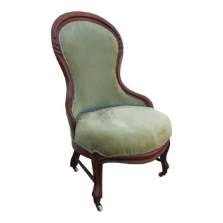 Victorian Solid Mahogany Living Bed Room Den Side Lady Chair For Sale