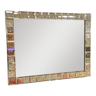 Modern Applied Circle Mirrored Frame Wall Mirror For Sale