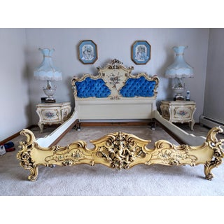 1970s Italian Rococo Style Tufted Blue Velvet Headboard Queen Bed