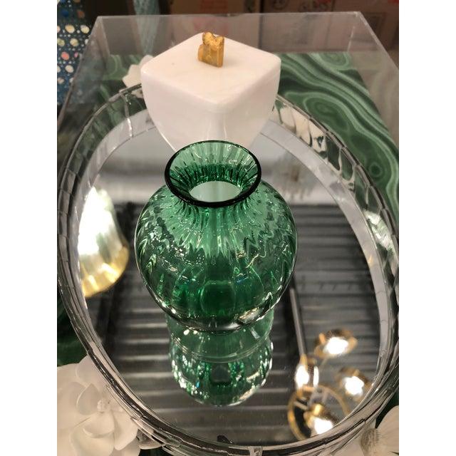 Mid Century Modern Baccarat Green Crystal Ribbed Baluster Form Vase - Image 6 of 6