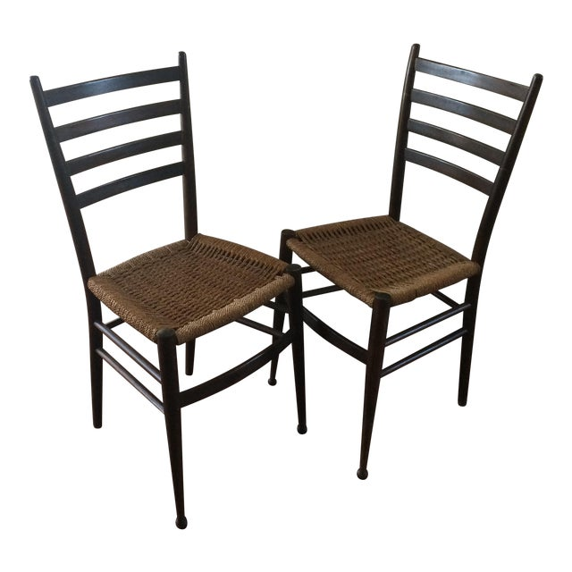 Vintage Italian Woven Seat Dining Chairs - A Pair - Image 1 of 11