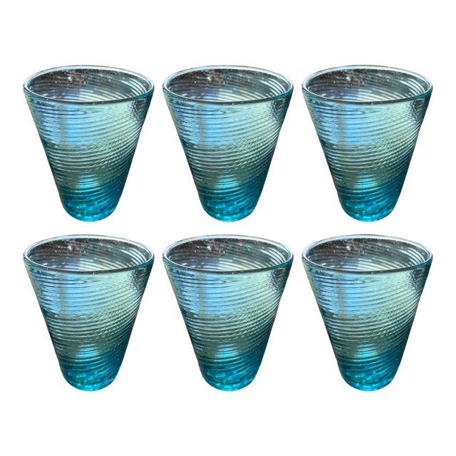 Handblown Aqua Swirl Cocktail Glasses, Set of 6 For Sale