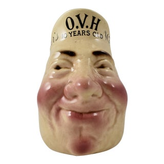 French Sarreguemines Greer's Whiskey Advertising Face Jug For Sale