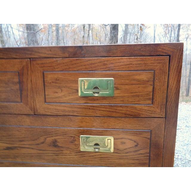 Vintage Henredon Campaign Oak Dresser Chest of Drawers For Sale In Nashville - Image 6 of 13