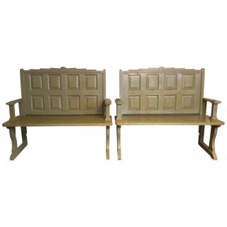 Pair of Olive Painted Hall Benches For Sale