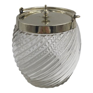 Crystal Biscuit Barrel With Brass Lid For Sale