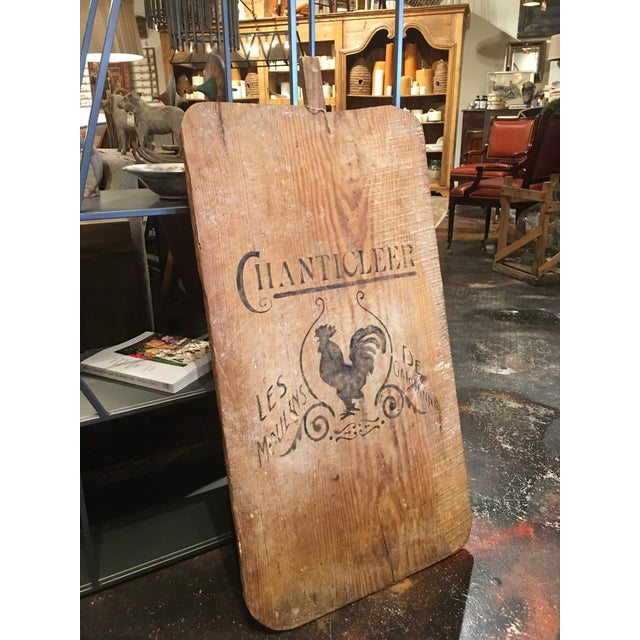 Antique pine bread board with printed with image of a rooster and lettering. Charming modern farmhouse decor and functions...
