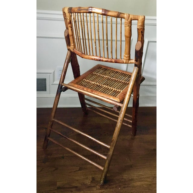 1950s Vintage Tortoise Bamboo Folding Chair For Sale - Image 5 of 9