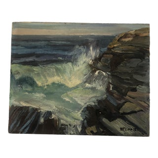 Permaquid Point Maine Impressionist Painting by D. Temple, 1950s For Sale