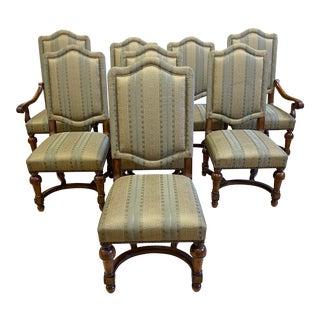 Bernhardt Villa Custom Fabric + Walnut Frame Chair - Set of 8 For Sale