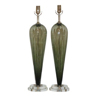 Joe Cariati Handblown Teardrop Glass Lamps in Sage Green For Sale