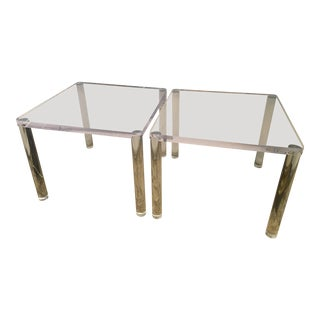 Lucite Square Side Tables - A Pair