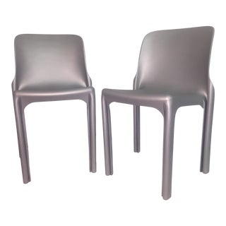 "21st Century Silver Heller ""Selene"" Stackable Chairs- a Pair For Sale"